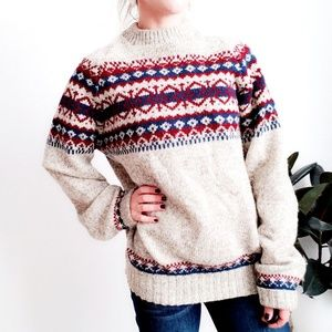 Vintage Fair isle Chunky Oversized Striped Sweater